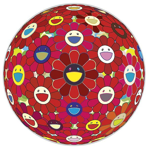 Takashi Murakami , b. 1962 Red Flower Ball (3-D) acrylic and platinum leaf on canvas mounted on board