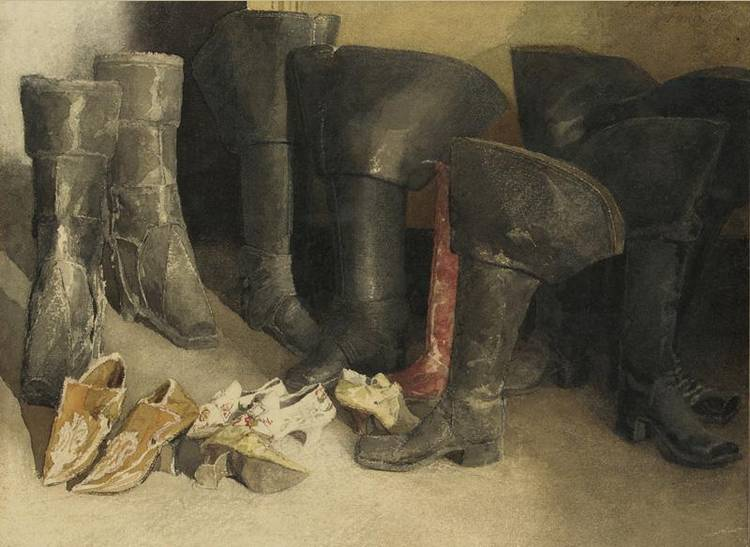 HENRI-ALFRED-MARIE JACQUEMART FRENCH 1824-1896 STUDY OF BOOTS AND SHOES