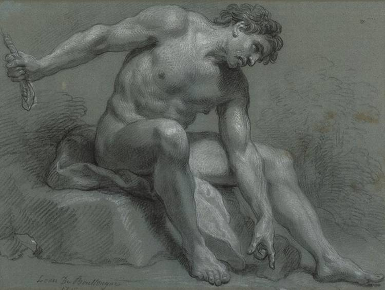 * LOUIS DE BOULLOGNE, THE YOUNGER 1654-1733 SEATED MALE NUDE