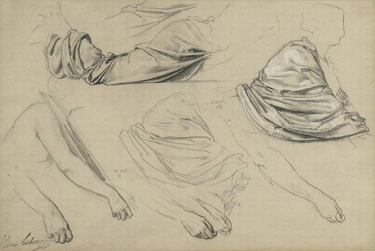 * KARL-ERNEST-RODOLPHE-HEINRICH-SALEM LEHMANN FRENCH 1814-1882 STUDY OF ARMS AND DRAPERY