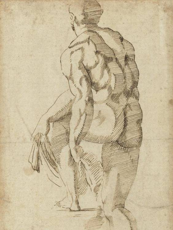 * GIOVANNI BANDINI 1540-1599 NUDE MALE FIGURE STEPPING ON PLATFORM SEEN FROM BEHIND