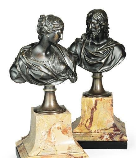 BELLE PAIRE DE BUSTES DE SAINTE SUZANNE ET DU CHRIST FRANCE, XVIIIE SIÈCLE, D'APRÈS UN MODÈLE DE FRANÇOIS DUQUESNOY (1597-1643)