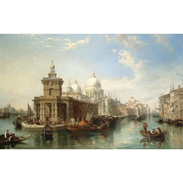 Edward Pritchett fl.1828-1864 , the church of the salute, venice oil on canvas