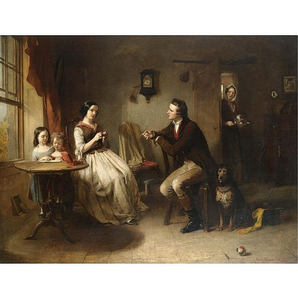 Frank Stone A.R.A. 1800-1859 , the proposal oil on canvas