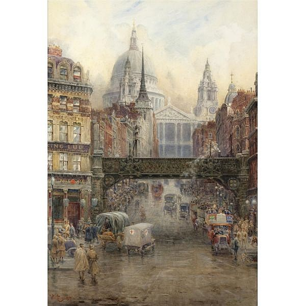 william wiehe collins 1862-1951 , st paul's and ludgate hill, 1917 watercolour over pencil