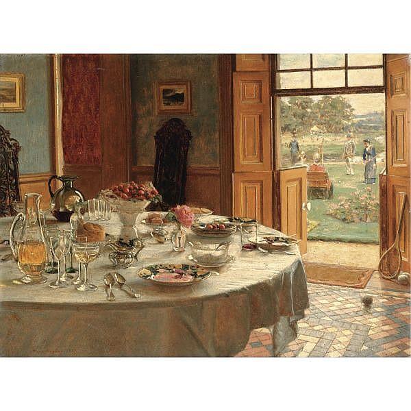 Mary Hayllar fl.1880-1885 , the tennis party oil on panel