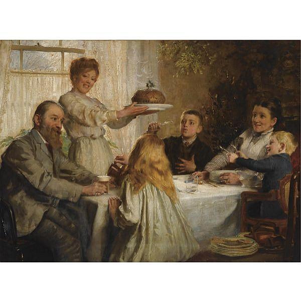 Joseph Clarke 1834-1926 , a christmas dole oil on canvas