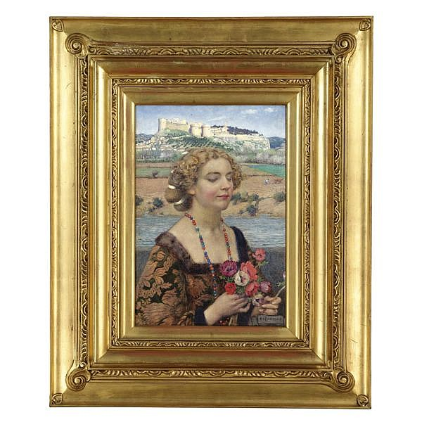 Eleanor Fortescue-Brickdale, R.W.S. 1871-1945 , petrarch's laura at avignon watercolour with bodycolour in a frame designed by the artist