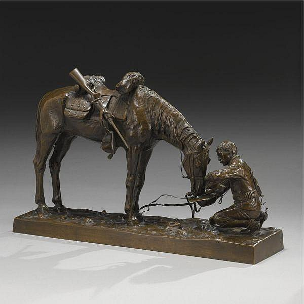 Charles Schreyvogel 1861 - 1912 , The Last Drop bronze with a golden brown patina