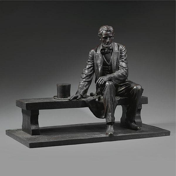 Gutzon Borglum 1867 - 1941 , Maquette for Lincoln Memorial in Newark bronze, dark brown patina