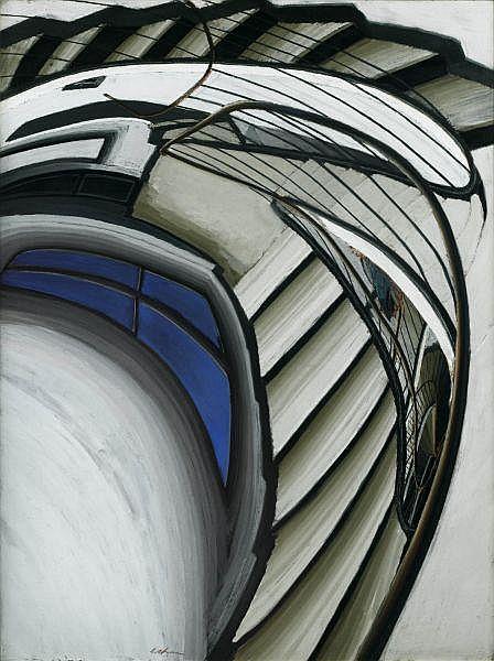 Sam Szafran , n. 1930 Escalier pastel sur papier