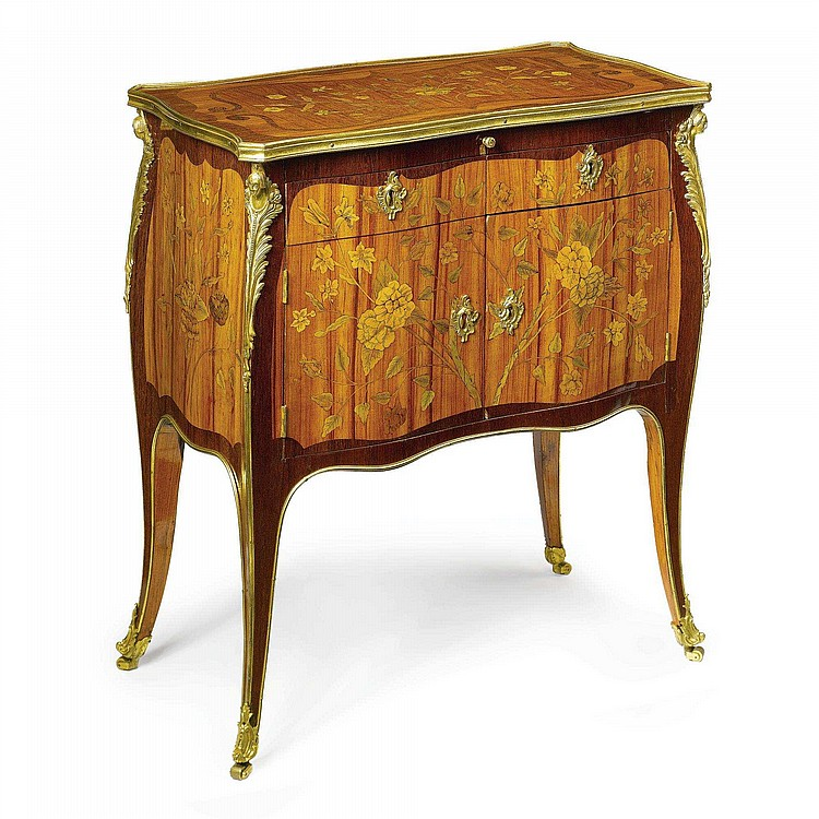 A MATCHED PAIR OF LOUIS XV ORMOLU-MOUNTED TULIPWOOD, AMARANTH AND FRUITWOOD MARQUETRY COMMODES ONE STAMPED L. BOUDIN, REMOUNTED, EACH ADAPTED FROM A BONHEUR DU JOUR