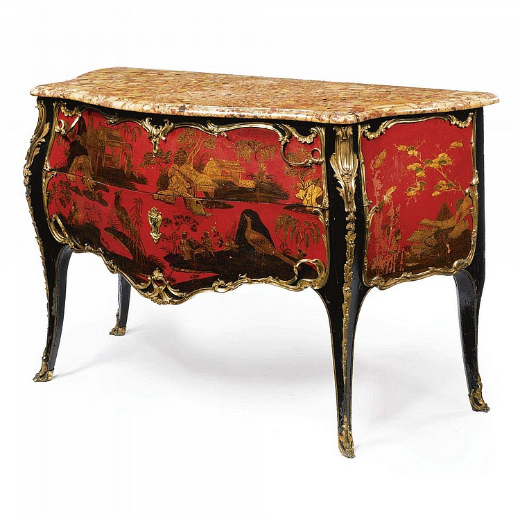 A LOUIS XV ORMOLU-MOUNTED RED, BLACK AND GILT JAPANNED COMMODE CIRCA 1745, STAMPED I. DUBOIS JME