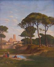 JEAN ACHILLE BENOUVILLE   Italianate Landscape with Figures Near a Stream