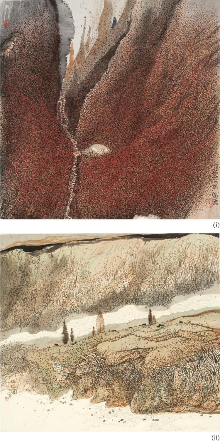ZHU DAOPING   Auspicious Autumn Mountain & Painting of a River Bank (two works)