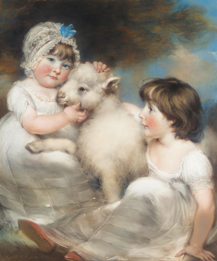 VARIOUS PROPERTIES JOHN RUSSELL R.A. 1745-1806 PORTRAIT OF MISS E.AND MISS L.EARLE WITH A LAMB