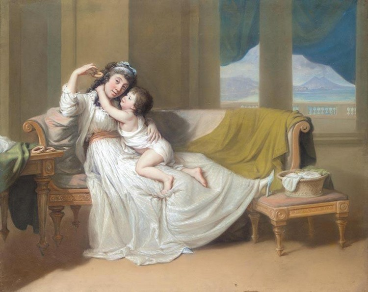 THE PROPERTY OF A LADY HUGH DOUGLAS HAMILTON 1739-1808 PORTRAIT OF A WOMAN AND CHILD IN AN