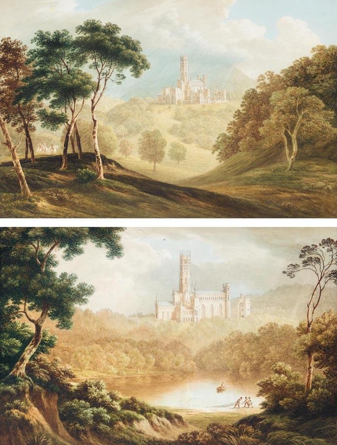 PROPERTY FROM A PRIVATE COLLECTION JOHN WARWICK SMITH 1749-1831 A VIEW OF FONTHILL ABBEY FROM THE