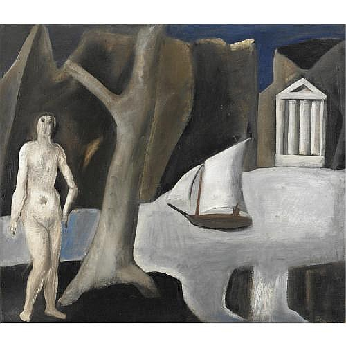 m - Mario Sironi , Paesaggio con tempio