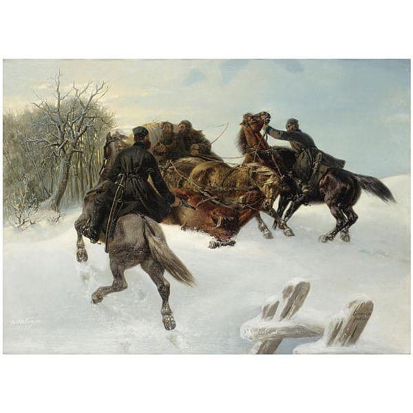 Arthur Johann Severin Nikutowski , German 1830-1888 Bandits oil on canvas