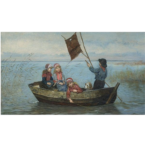 - Rudolf Hirth du Frênes , German 1846-1916 segeln setzen oil on canvas