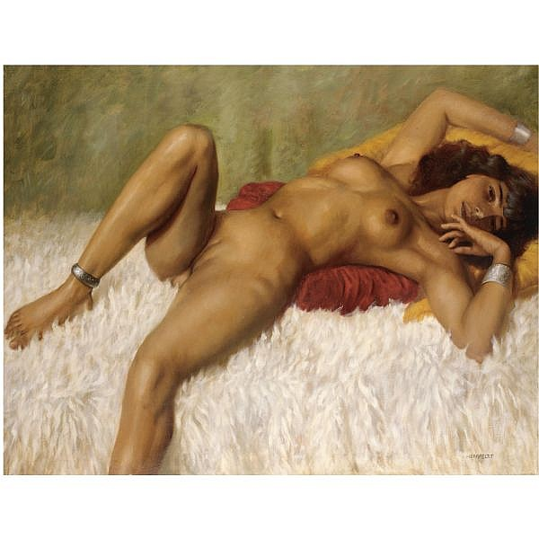Marcel Renée Herrfeldt , French 1890-1965 Reclining Nude on a Rug oil on canvas