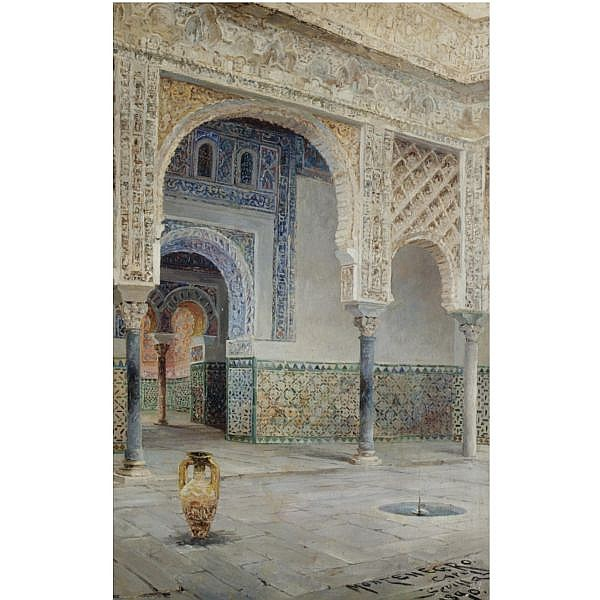 José Montenegro Capell , Spanish 1855-1924 A Moorish Courtyard, Seville oil on canvas