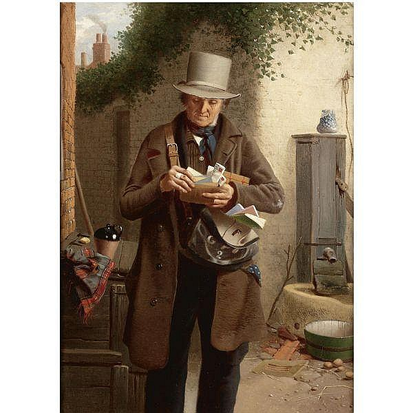 William Edward Millner , 1849-1895 the postman oil on canvas
