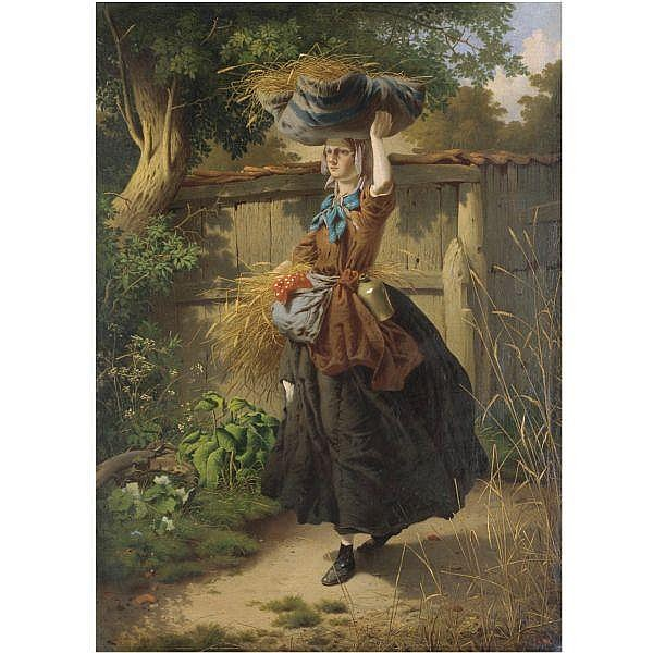 William Edward Millner , 1849-1895 returning from the fields oil on canvas