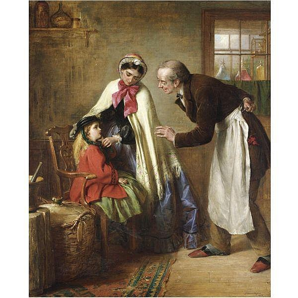 Edward Hughes , 1832-1908 a first visit to the dentist oil on canvas