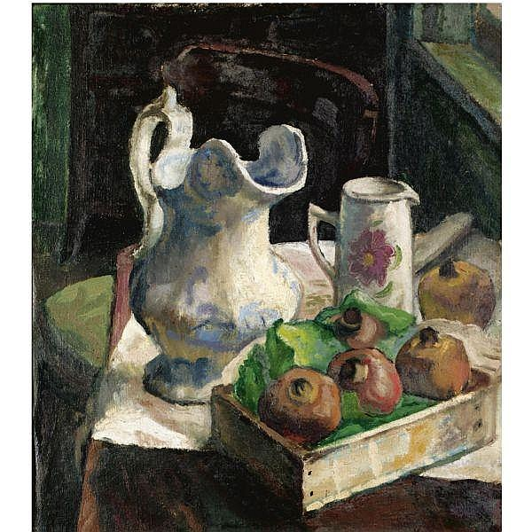Claude Rogers , 1907-1979 pomegranates and two jugs (recto), the artist and his model (verso) oil on canvas