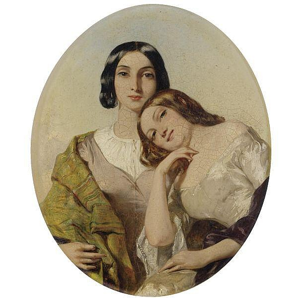 Alfred Elmore, R.A. , 1815-1881 the smile: from thomas moore's irish melodies oil on panel, oval