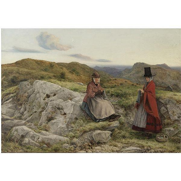 William Dyce, R.A., H.R.S.A. , 1806-1864 welsh landscape with two women knitting   oil on prepared board