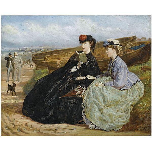 Charles Wynne Nicholls, R.H.A. , 1831-1903 a seaside romance oil on panel