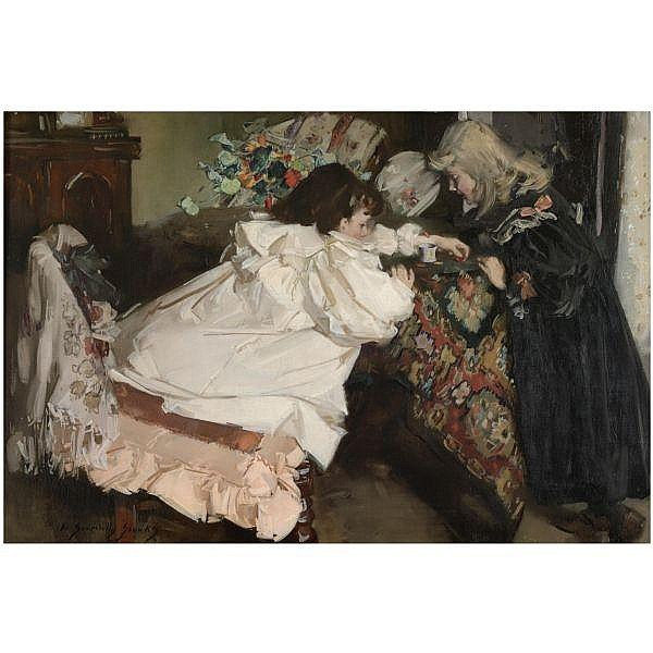 William Somerville Shanks, R.S.A., R.S.W. , 1864-1951 tiddley winks oil on canvas