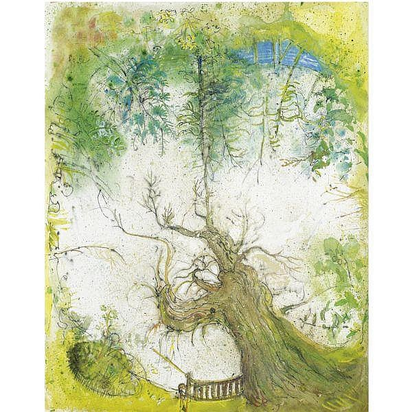 Nina Carroll , 1932-1990 willow in wind on wash day; looking up watercolour with pen and ink