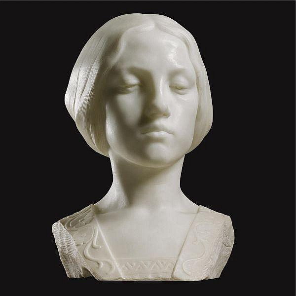 - Alfons Strymans , Belgian 1866-1959   Beatrice white marble