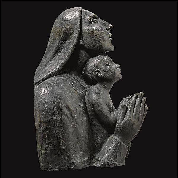 - Ivan Mestrovic , Croatian 1883-1962 Mother teaching her child to pray bronze, dark green patina