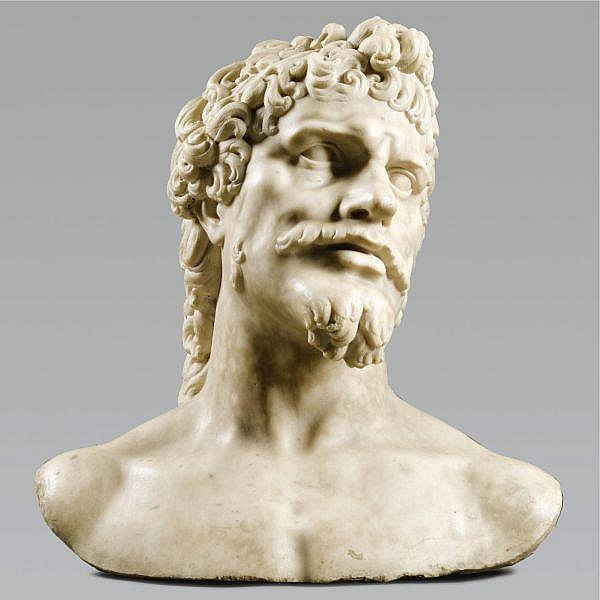 - Baccio Bandinelli (1493-1560) Italian, Florence, mid-16th century , Colossal Bust of an Ancient Hero white marble