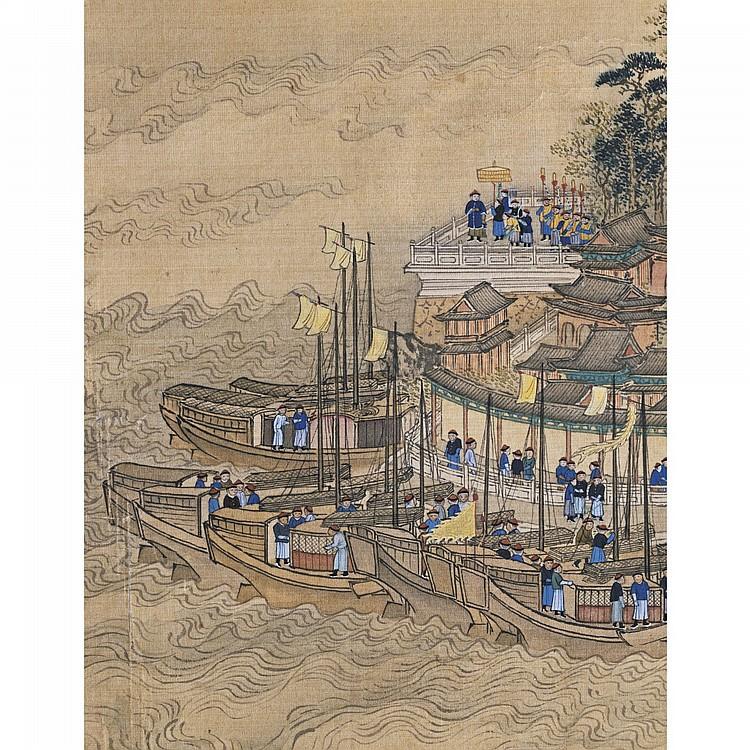 THE KANGXI EMPEROR'S NANXUN TU, ('SOUTHERN INSPECTION TOUR'), NO. 6: VISIT TO MOUNT JINSHAN BY WANG HUI (1632-1717) QING DYNASTY, KANGXI PERIOD, 1691-1697