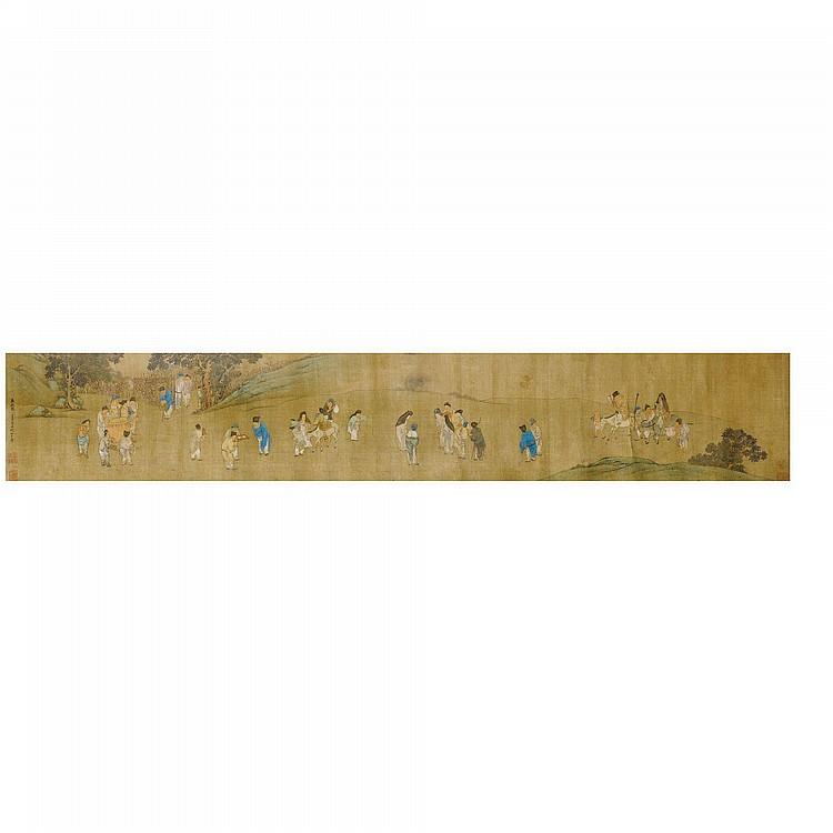 ROULEAU D'APRÈS LIU SONGNIAN (1174-1224) CHINE, DYNASTIE QING, XVIII E -XIX E SIÈCLE