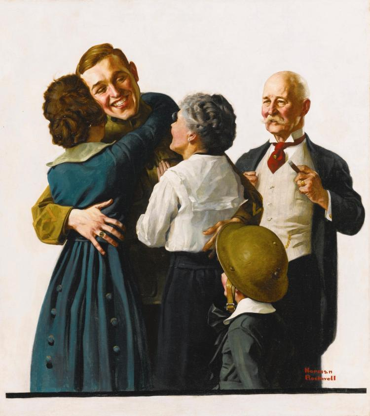 NORMAN ROCKWELL | Oh Boy (Soldier Reunited with Family)