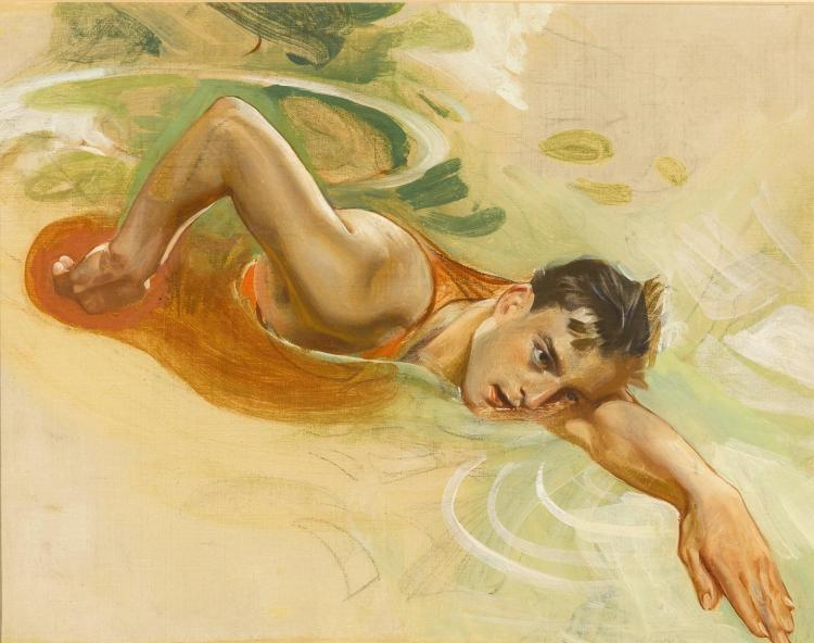 JOSEPH CHRISTIAN LEYENDECKER | Study of a Swimmer