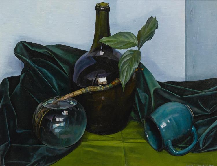LUIGI LUCIONI | Still Life with Blue Bottle