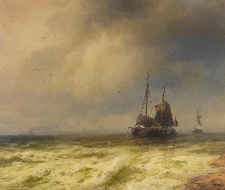 HERMAN HERZOG | Two Ships By the Shoreline