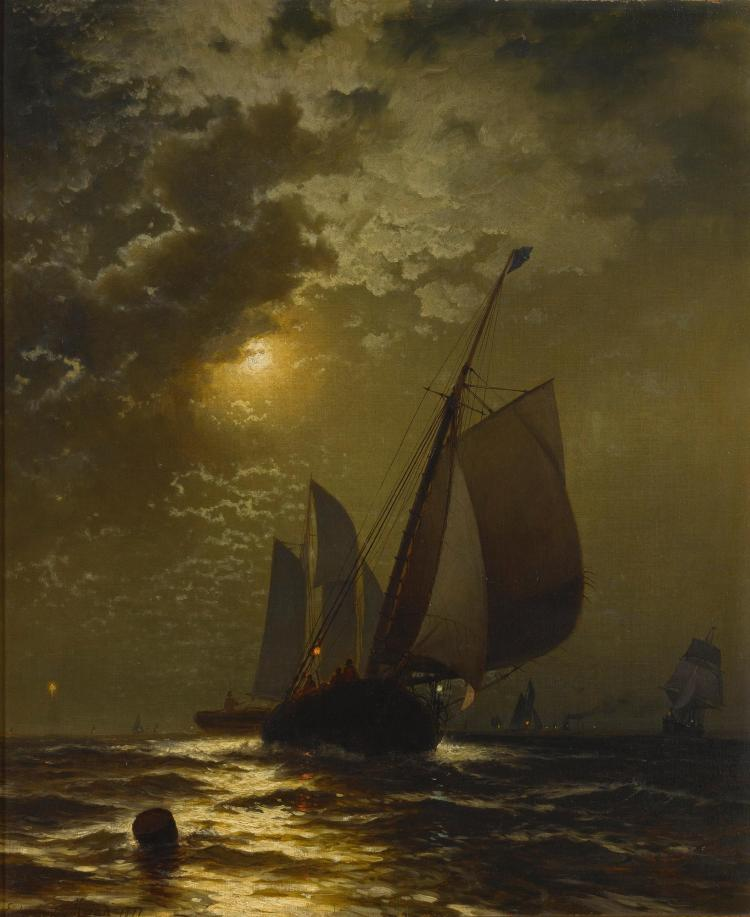 EDWARD MORAN | Fishing Boats in the Moonlight