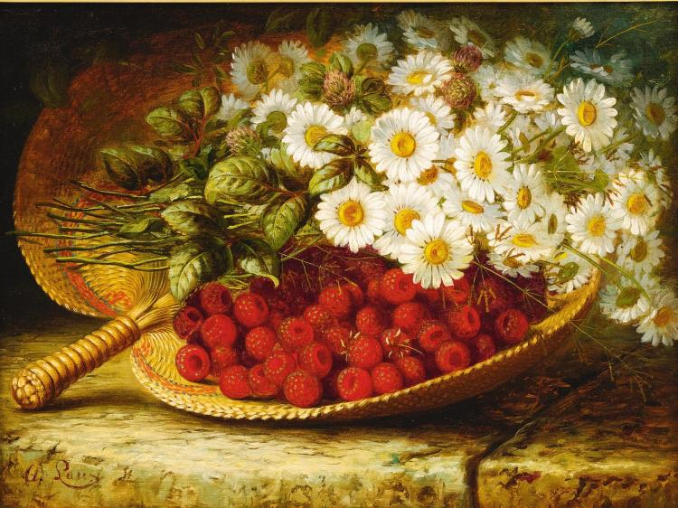 AUGUST LAUX | Still Life with Daises and Raspberries on a Ledge