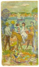 MAURICE B. PRENDERGAST | Group of Figures (with Donkey)
