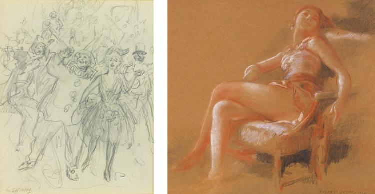 EVERETT SHINN | Carnival <em>and</em> Girl in a Chair: Two Works