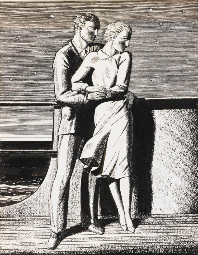 ROCKWELL KENT | Couple on a Ship, The Lovers, for